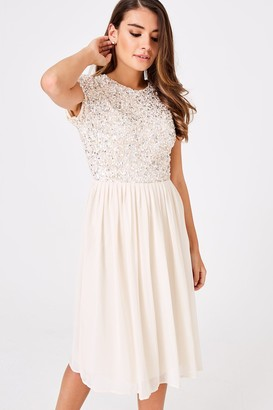Little Mistress Luxury Briella Nude Hand-Embellished Pearl Top Midi Dress