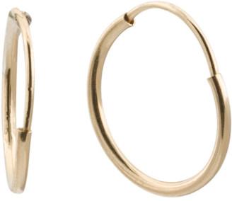 Made In Usa 14k Gold 1mm Tubing Endless Hoop Earrings