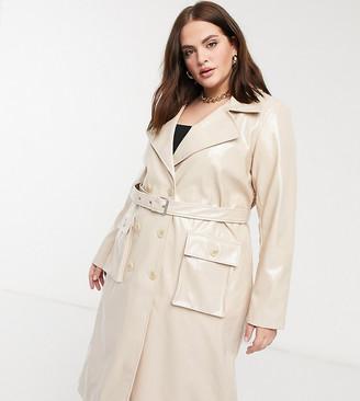 Urbancode Curve high shine PU trench coat in beige