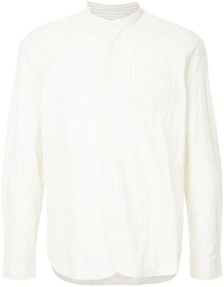 Kent & Curwen Band Collar Striped Shirt