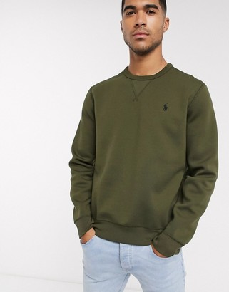 Polo Ralph Lauren double tech crew neck sweatshirt player logo in olive green