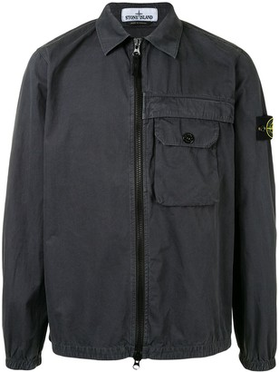 Stone Island Logo-Patch Zip Shirt