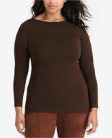 Lauren Ralph Lauren Plus Size Jersey Boat-Neck Top
