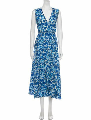 Diane von Furstenberg Floral Print Long Dress Blue