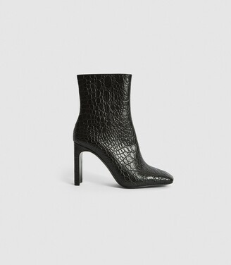 Reiss Vogue - Leather Croc Embossed Ankle Boots in Black