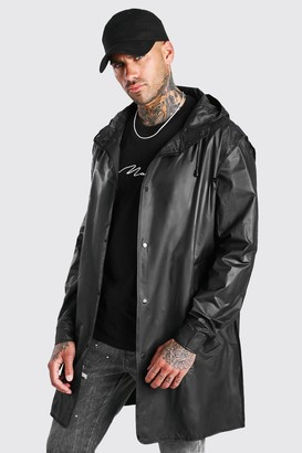 boohoo Mens Black Lightweight Zip Through Parka, Black
