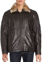 Andrew Marc Leather Rabbit Fur Collar Jacket