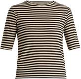 Vince Striped silk-blend cropped T-shirt
