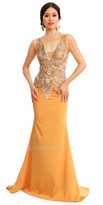 Atria Floral Embellished Applique Evening Dress