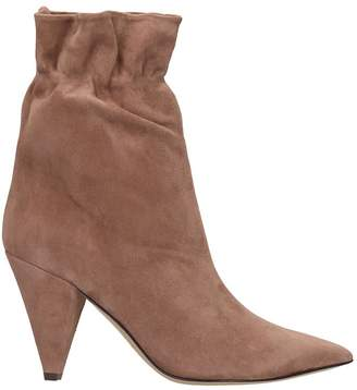Fabio Rusconi High Heels Ankle Boots In Powder Suede