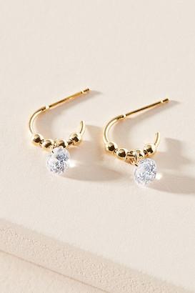 Anthropologie Crystal Drop Huggie Hoop Earrings By in Clear