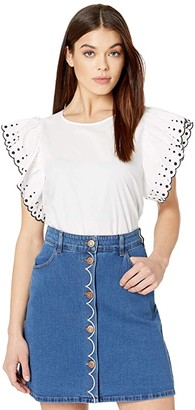See by Chloe Embroidered Cotton Poplin T-Shirt (White) Women's Clothing