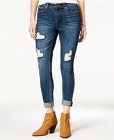 Vanilla Star Juniors' Ripped Crochet-Inset Rolled Cropped Skinny Jeans