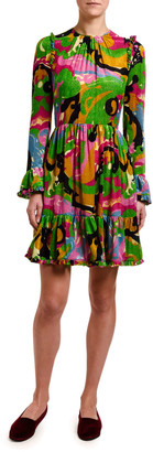 Double J Long-Sleeve Abstract Floral Devore Dress