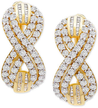 Wrapped in Love Diamond Infinity Small Hoop Earrings (2 ct. t.w.) in Gold-Plated Sterling Silver, 0.95""