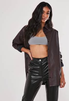 Missguided Wine Faux Leather Oversized Shirt