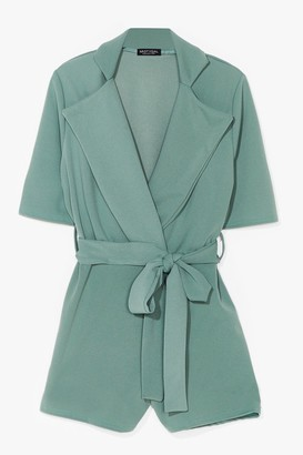 Nasty Gal Womens Well Suited Plunging Belted Playsuit - Green - 10