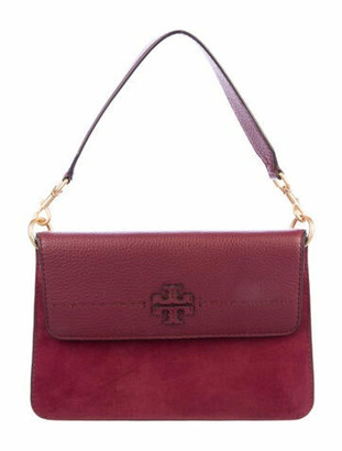 Tory Burch Suede McGraw Shoulder Bag Red