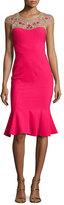 Marchesa Cap-Sleeve Embroidered Flounce Dress, Magenta