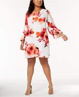 Calvin Klein Plus Size Floral-Print Bell-Sleeve Dress
