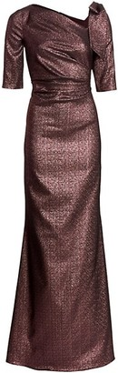 Teri Jon by Rickie Freeman Bow Metallic Gown