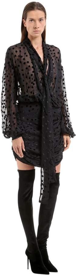 Magda Butrym Polka Dot Flocked Chiffon Dress