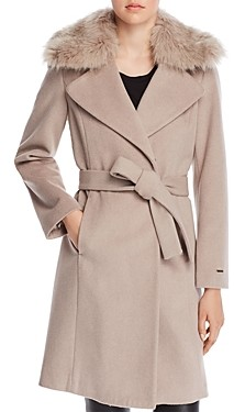 T Tahari Fiona Faux Fur Trim Wrap Coat
