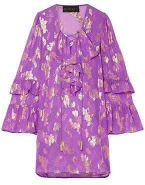 Dundas Lace-up Metallic Fil Coupe Silk-blend Chiffon Mini Dress
