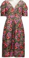 Marni Zip-through Floral-print Cotton-blend Midi Dress - Womens - Pink Multi