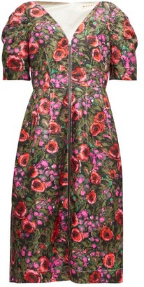 Marni Zip-through Floral-print Cotton-blend Midi Dress - Womens - Pink Multi