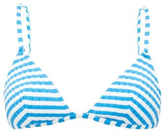Solid & Striped The Lulu Striped Triangular Bikini Top - Blue White