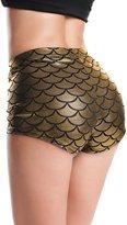 Diamondkit Women's Shiny Mermaid Fish Scale Shorts