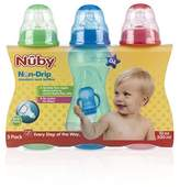 Nuby 3 Pack Bottles, 10 Ounce, Aqua Light Green - Orange (Neutral)