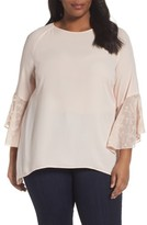 Sejour Plus Size Women's Embroidered Bell Sleeve Blouse