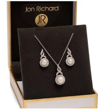 Jon Richard Jewellery Jon Richard Rhodium Plated Pearl Twist Halo Set - Gift Boxed