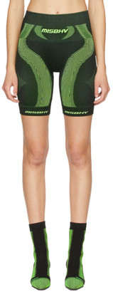 Misbhv Black and Green Active Sport Shorts