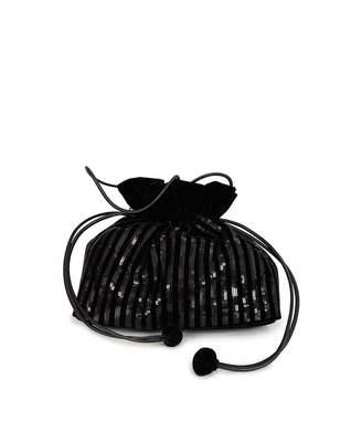 Lulu Guinness Lizabeth Sequin Stripe Evening Bag Colour: BLACK, Size: