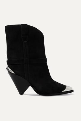Isabel Marant Lamsy Embellished Suede Ankle Boots - Black