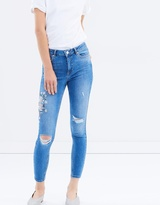 Miss Selfridge Mid Wash Embroidered Lizzie Jeans