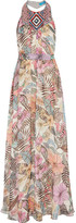 Matthew Williamson Kantuta Valley Beaded Silk-chiffon Halterneck Maxi Dress - Off-white