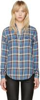 Saint Laurent Blue Classic Western Plaid Shirt