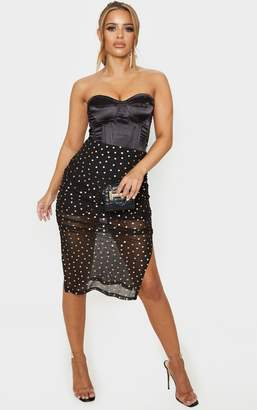 PrettyLittleThing Petite Black Polka Dot Ruched Side Midi Skirt