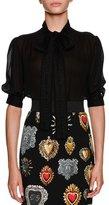 Dolce & Gabbana Tie-Neck Short-Sleeve Sheer Silk Blouse
