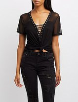 Charlotte Russe Mesh-Trim Lace-Up Tee