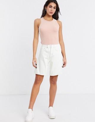 ASOS DESIGN denim high rise easy wide leg shorts in white