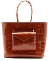 STAUD Linda Crocodile-embossed Leather Tote Bag - Womens - Tan