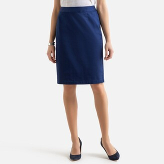 Anne Weyburn Cotton Straight Mid-Length Skirt