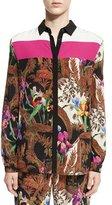 Etro Colorblock Jungle-Print Blouse, Black/Multi