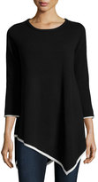 Neiman Marcus Cashmere 3/4-Sleeve Tunic Top, Black