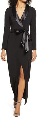 Eliza J Long Sleeve Tuxedo Gown
